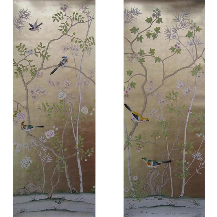 hinoiserie hand painted wallpaper on gold foil metallic for home hotel  1