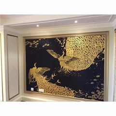 chinoiserie hand painted silk wallpaper wallcovering