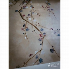 Bedroom Hand Painted Plum Blossom hand painted wallpaper