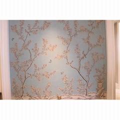 Chinoiserie Hand painted Wallpaper on blue grey slub silk