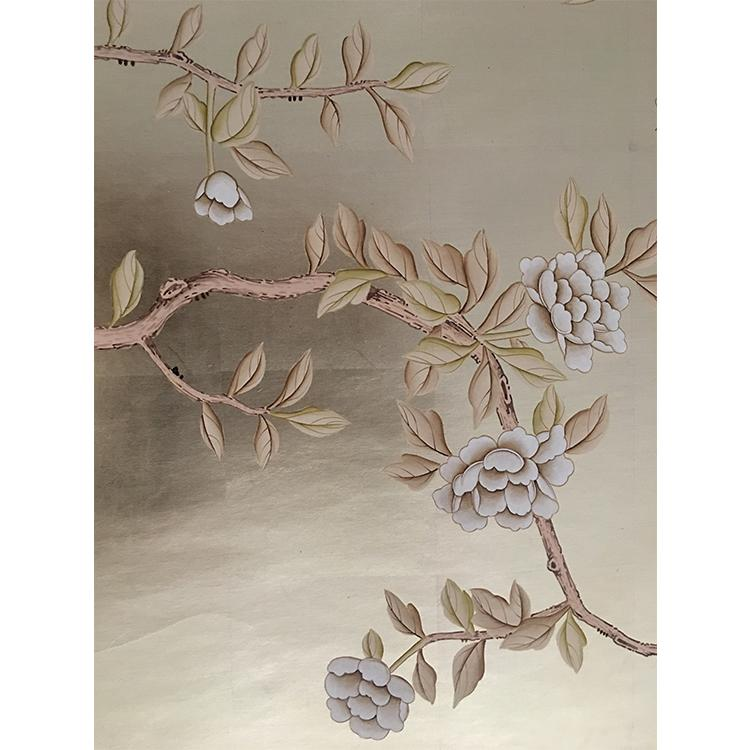 hinoiserie hand painted wallpaper on gold foil metallic for home hotel  3
