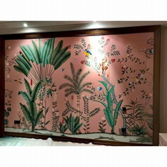Chinoiserie hand painted wallpapers on pink silk