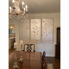 Chinoiserie hand painted si  er metallic wallpaper, hand painted artworks