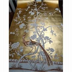 Chinoiserie handpainted wallpaper gold metallic gilded on silk