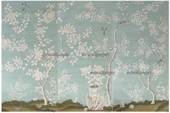Floral Chinoiserie Handpainted Wallpaper On Blue Tea Paper