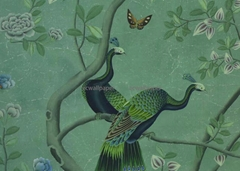 Peacock Chinoiserie Handpainted Wallpaper On Green Tea Paper