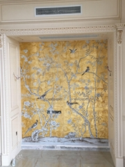 Chinoiserie Handpainted Wallpaper On Gold Metallic With Antiques