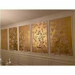 Chinoiserie hand painted wallpaper gold metallic gilded silk (Hot Product - 1*)