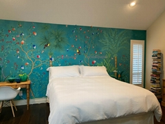 Palm Chinoiserie Handpainted Wallpaper On Xuan Paper for Bedroom