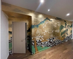 Bamboo&River hand painted wallpaper on gold metallic for home deco
