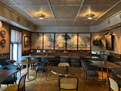 Panoramic hand painted wallpaper for restaurant - Early Views of India