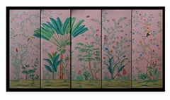 Palm Chinoiserie hand painted wallpaper on pink silk, hand painted artworks