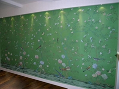 Chinoiserie hand painted wallpaper on Emerald green silk, Chinoiserie wallpaper