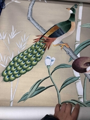 Chinoiserie hand painted wallpaper on silk with partial embroidery