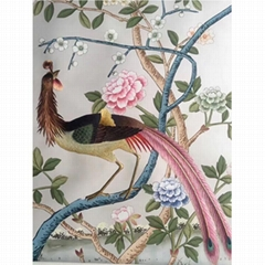 Floral Chinoiserie hand painted wallpaper on silk with partial embroidery