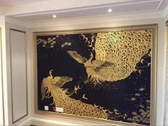 Phoenix hand painted wallpaper on black silk, Chinoiserie silk wallpaper