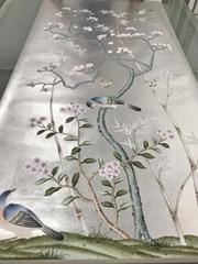 Magnolia Chinoiserie Hand painted si  er metallic Wallpaper