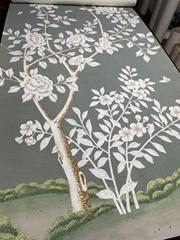Chinoiserie Handpainted Wallpaper On Green Tea Paper, Chinoiserie wallpaper