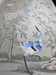 Peony hand painted wallpaper on silk with partial embroidery