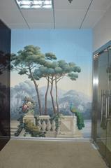 Landscape Panoramic mural handpainted wallpaper on scenic paper