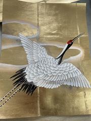 Sample for Crane handpainted wallpaper on gold metallic, Chinoiserie wallpaper