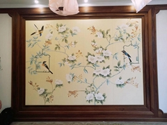 Chinoiserie hand painted wallpaper on silk, Chinoiserie silk wallpaper