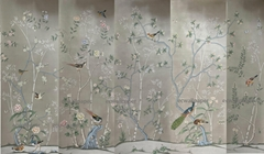 Chinoiserie hand painted wallpaper on grey silk with pearlescent