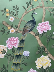 Peacock Chinoiserie hand painted wallpaper on Green silk, Chinoiserie wallpaper