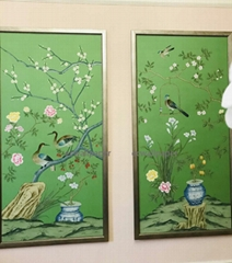 Chinoiserie hand painted wallpaper on Green silk, Chinoiserie silk wallpaper