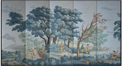 Panoramic mural handpainted wallpaper on scenic paper, panoramic murals
