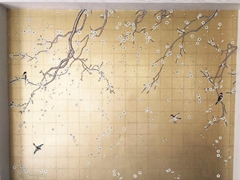 Chinoiserie hand painted wallpaper on gold metallic, Chinoiserie wallpaper