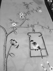 Chinoiserie handpainted wallpaper on grey silk, Chinoiserie silk artworks