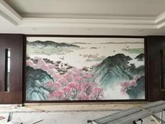 Landscape handpainted wallpaper on silk, Chinoiserie silk artworks