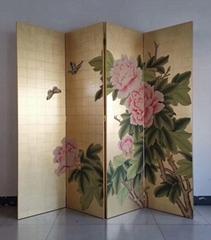 Screen folding Chinoiserie handpainted wallpaper on gold metallic