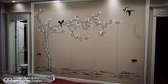Magnolia handpainted wallpaper on silk, Chinoiserie silk artworks