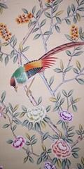 Chinoiserie handpainted wallpaper on pink silk, Chinoiserie silk artworks