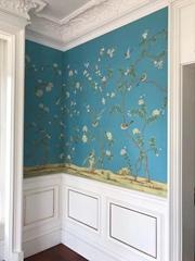 Chinoiserie handpainted wallpaper on blue silk, Chinoiserie silk artworks
