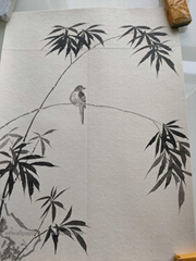 Ink painting Bamboo Handpainted Wallpaper On Green Tea Paper