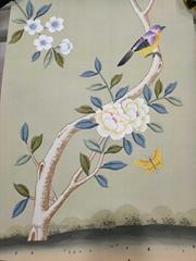 Samples for Chinoiserie Handpainted Wallpaper On Green Tea Paper