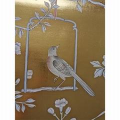 Chinoiserie handpainted wallpaper on gold metallic, Chinoiserie wallpaper