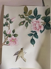 Sample for Chinoiserie hand painted wallpaper, Chinoiserie silk wallpaper