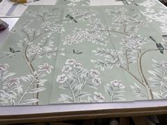 Chinoiserie handpainted wallpaper on slub silk, Chinoiserie silk artworks