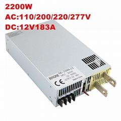 供應2200W 12V開關電源  工業工控DC12V183A 帶0-5v模擬信號控制