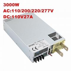 3000W 110V 27A大功率開關電源DC110V27A恆壓恆流 0-110V可調電源