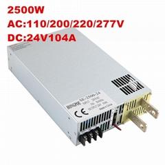 供應2500W 24V工業工控 DC24V 104A 開關電源 帶0-5v模擬信號控制