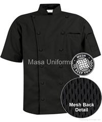 M150 黑色短袖加网眼厨师服