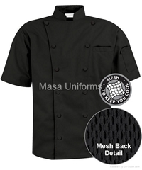 Short Sleeve Mesh Back Chef Coat - Plush Buttons 65/35 Poly/Cotton,chefs clothes
