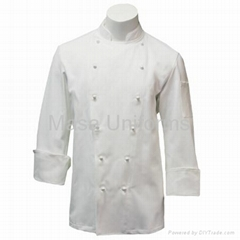 Traditional white Long sleeve Chef Coat with Plush buttons,chef wear