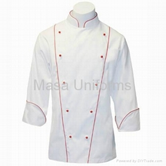 Corded Chef Coat in Fineline w/ red Accents/chef wear/chef uniform/chef wear