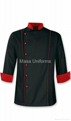 raditional Chef Coat - red Trim/chef uniform/chefs wear/chef clothes